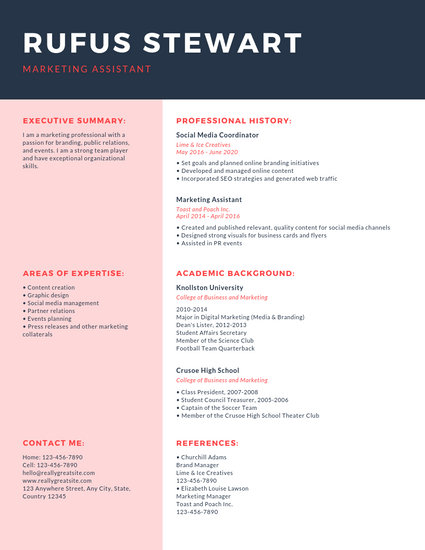 Dark Blue and Red Corporate Resume - Templates by Canva