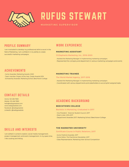 handshake resume template