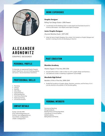 canva graphic design resume