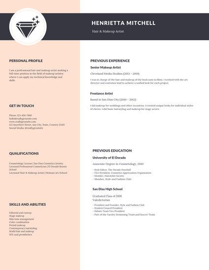 mordern resume template free