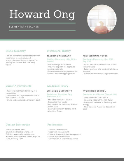 Green Elementary Educator Résumé - Templates by Canva