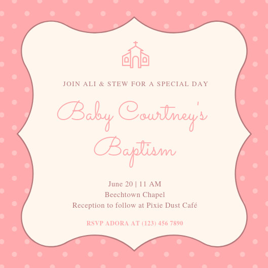 Pink Background Christening Invitation - Templates by Canva