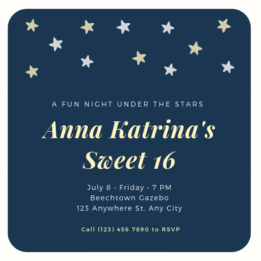Blue Under The Stars Birthday Invitation - Templates by Canva