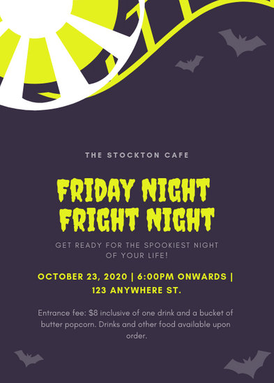 Purple Illustrated Bats Halloween Movie Night Flyer - Templates by Canva