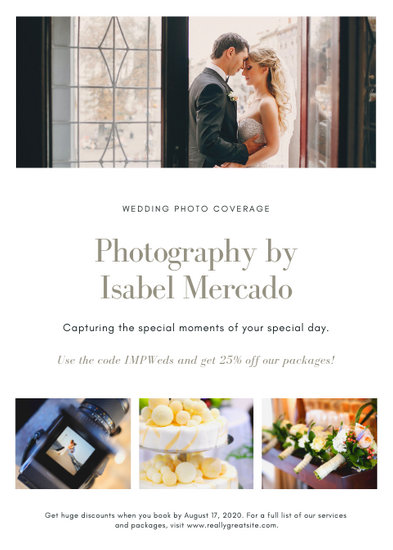 White Wedding Photography Flyer - Templates by Canva