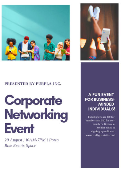 Purple Grid Marketing Promotion Corporate Flyer - Templates by Canva