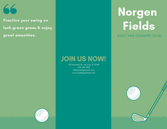 Light Green and Teal Simple Illustrated Golf Tournament Trifold