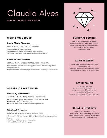 Pink  Gray Minimal Creative Modern Resume - Templates by Canva