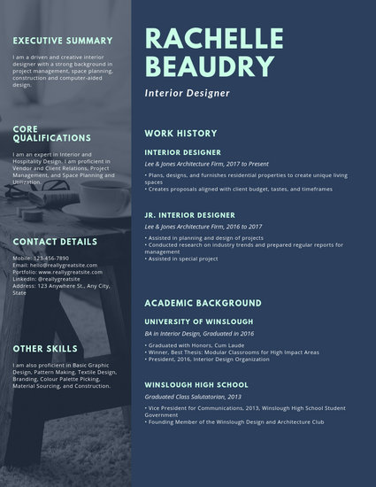 Dark Blue with Photo Interior Designer Creative Resume - Templates