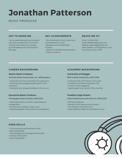 Teal Music Producer Modern Resume - Templates by Canva
