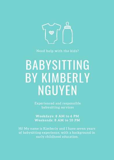 Customize 11+ Babysitting Flyer templates online - Canva