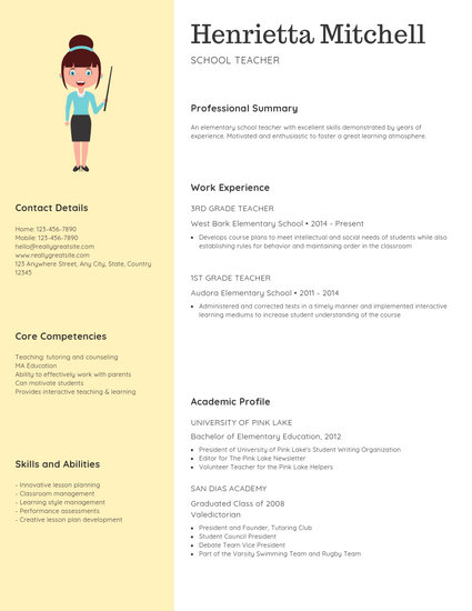 Yellow Confetti Teacher Creative Resume - Templates by Canva