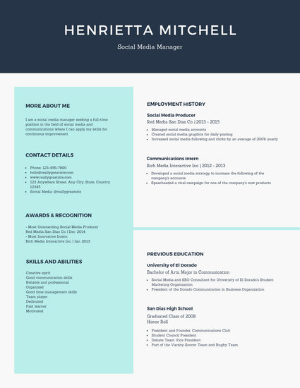 Pale Turquoise Social Media Manager Simple Resume - Templates by Canva