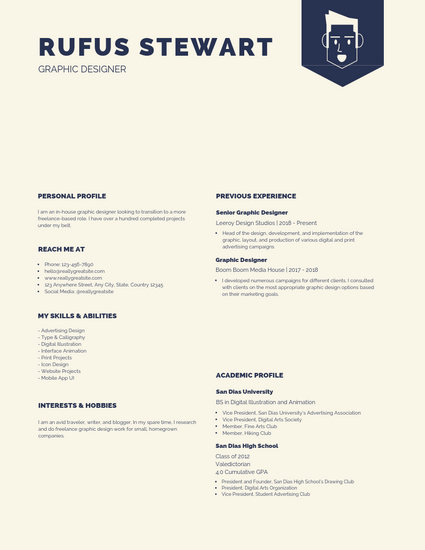 Large Blue Heading Designer Creative Resume - Templates by Canva