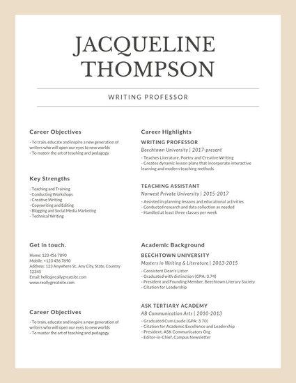 Beige  White Simple Clean Formal Corporate Teacher Professor