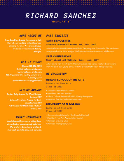 Dark Blue and Orange Dotted Visual Designer Resume - Templates by Canva
