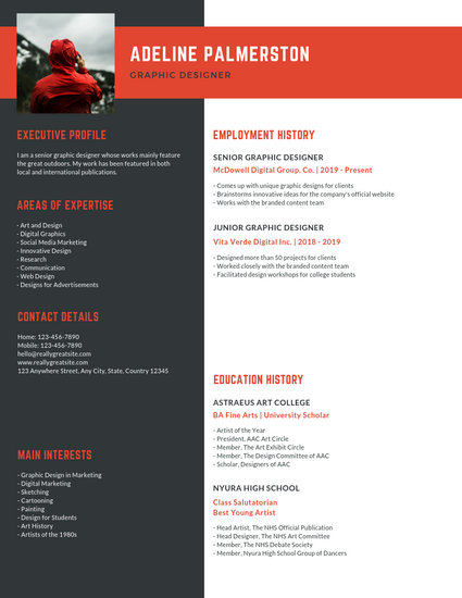 Red and Dark Gray Graphic Designer Resume - Templates by Canva