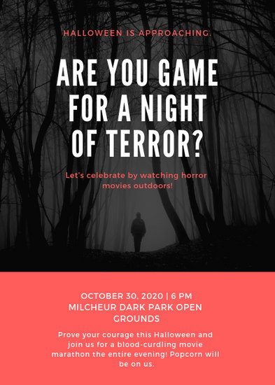 Black Scary Girl Movie Night Flyer - Templates by Canva