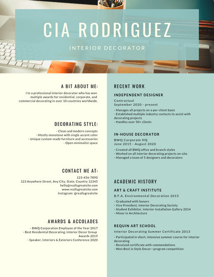 Dark Gray Interior Designer with Photo Resume - Templates by Canva