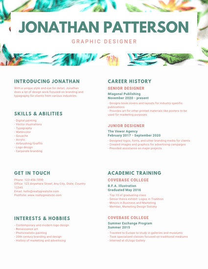 Customize 90+ Graphic Design Resume templates online - Canva