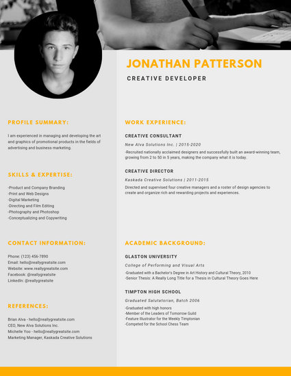 Yellow Creative Director Photo Resume - Templates by Canva