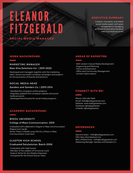 Black and Red Social Media Manager Corporate Resume - Templates by Canva