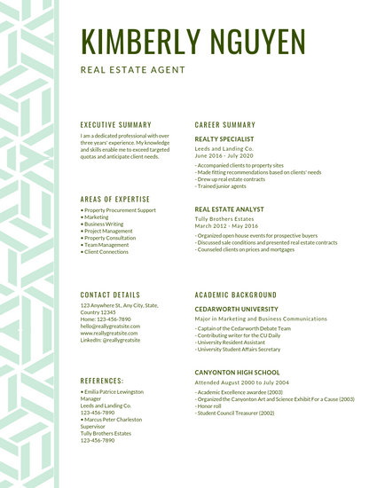Green Pattern Accent Modern Resume - Templates by Canva