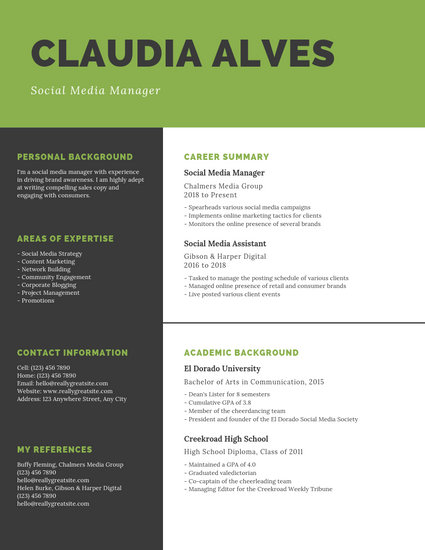 Green Checkered Background and Black College Resume - Templates by Canva