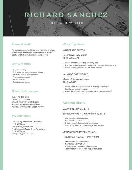 Peach Photo Header Scholarship Resume - Templates by Canva