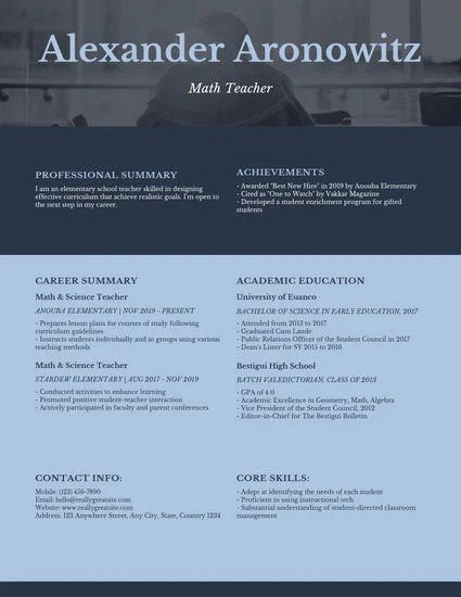 Blue Simple Math Teacher Resume - Templates by Canva