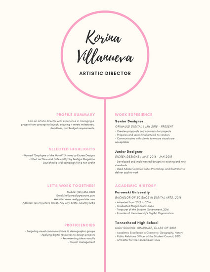 Pink Black Girly Theater Resume - Templates by Canva