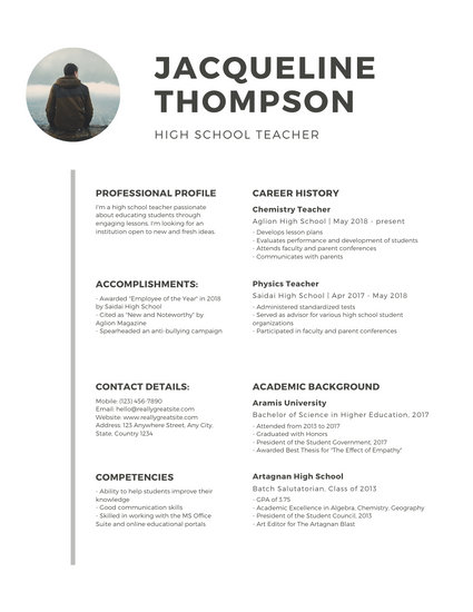 White Minimalist with Photo Teacher Resume - Templates by Canva