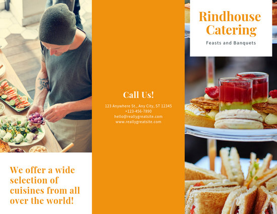 Orange Food Photo Catering Trifold Brochure - Templates by Canva