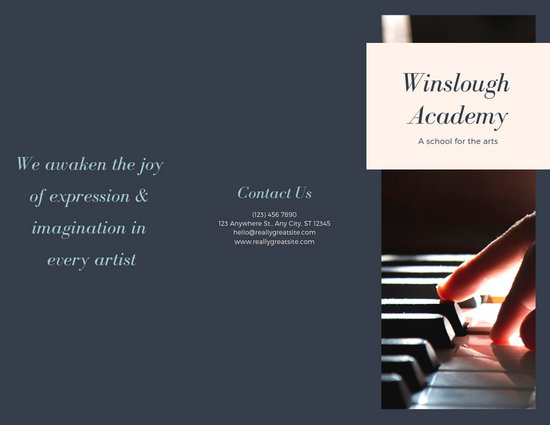 Grey Blue Music School Piano Arts Trifold Brochure - Templates by Canva