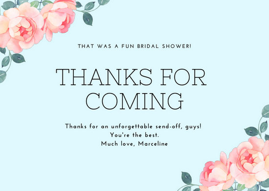 Violet Border Bridal Shower Thank You Card - Templates by Canva
