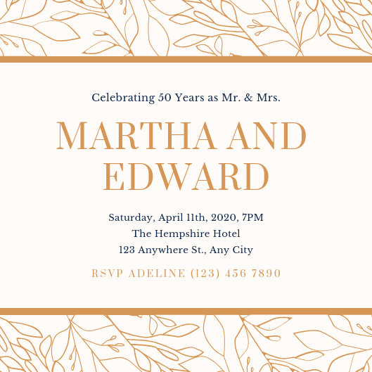 Cream and Brown Simple 50th Wedding Anniversary Invitation