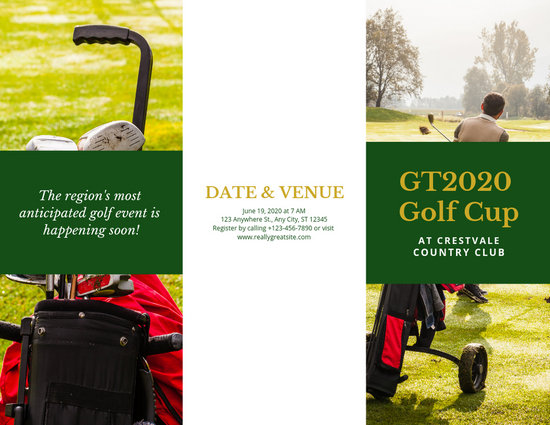Green and Gold Golf Tournament Trifold Brochure - Templates by Canva