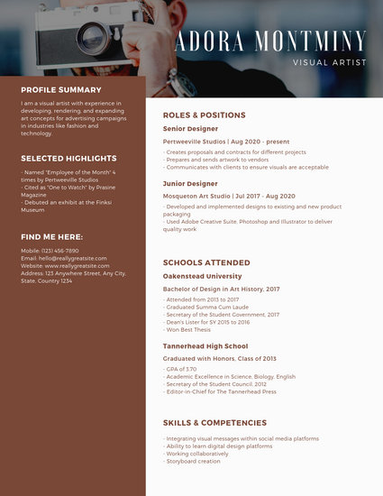 Simple Brown Photo Header Resume - Templates by Canva