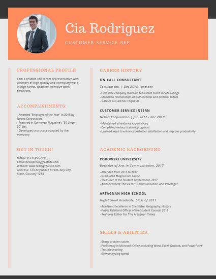 Simple Blue and Orange Blocks Customer Service Resume - Templates by