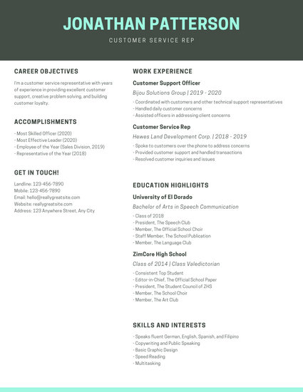 Simple Turqoise Customer Service Resume - Templates by Canva