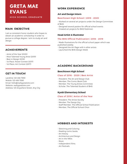 Customize 20+ High School Resume templates online - Canva