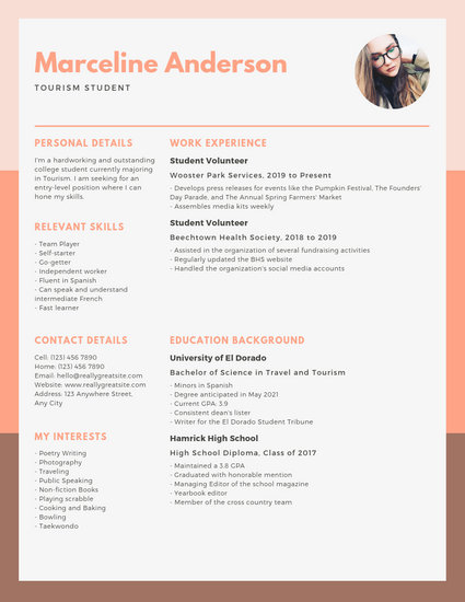 Peach and Orange Simple College Resume - Templates by Canva
