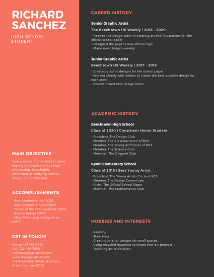 Red and Grey Simple Infographic High School Resume - Templates by Canva