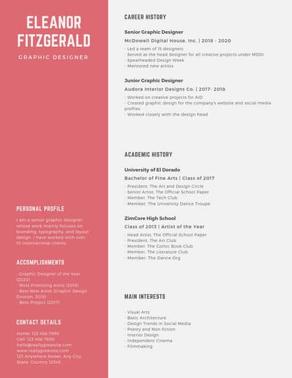 internship resume template online