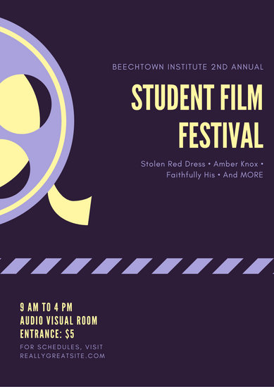 purple yellow film showing poster