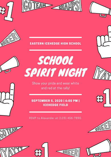 School Icons Spirit Night Poster - Templates by Canva