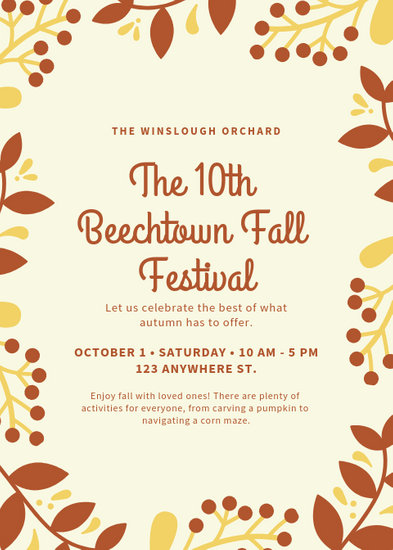 Cream and Orange Foliage Border Fall Festival Flyer - Templates by Canva