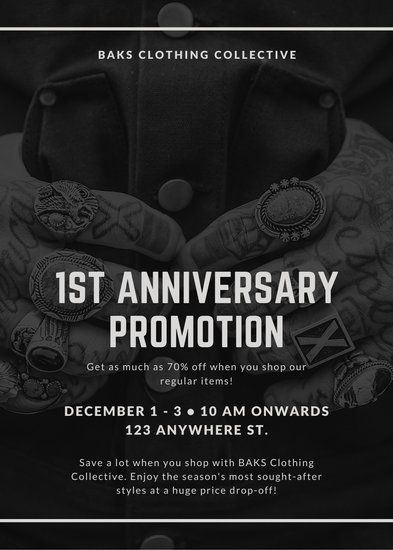 Black and White Bordered Tattooed Man Sale Flyer - Templates by Canva
