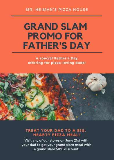 Blue and Orange Pizza Photo Father\u0027s Day Flyer - Templates by Canva