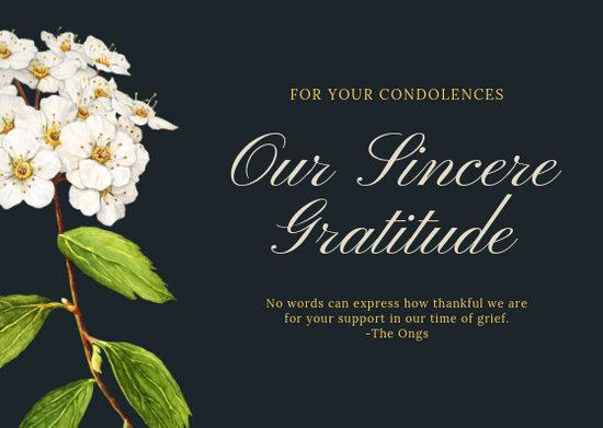 Grey Gold Floral Elegant Script Funeral Thank You Card - Templates